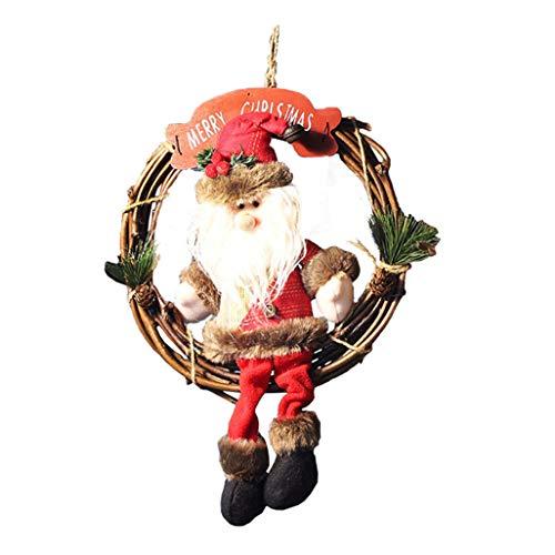 LYFWL Kerstkransen decoraties voor thuis deur opknoping slinger ornamenten Nieuwjaar Verjaardag Party Decor Xmas Krans benodigdheden Natal Kerstman