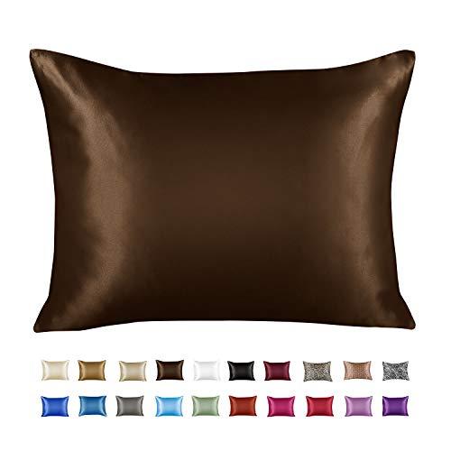 ShopBedding Luxury Satin Pillowcase for Hair – King Satin Pillowcase with Zipper, Brown (1 per Pack) – Blissford