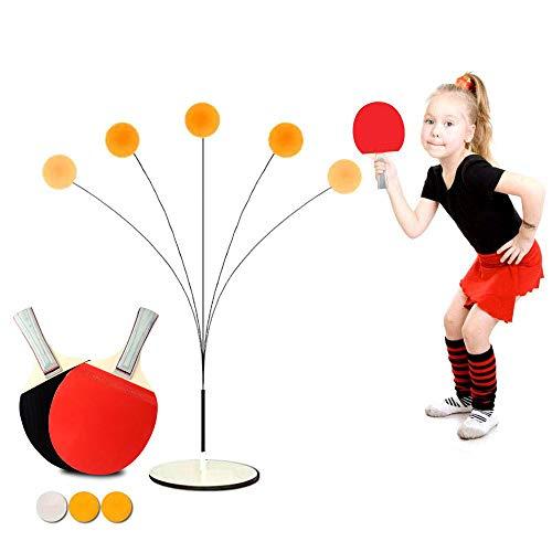 Prtukyt Tischtennistrainer mit elastischem,Tischtennistrainer für Kinder Tischtennis Trainer mit elastischem Soft Shaft Freizeit Dekompressions,Tischtennistrainer-Set,Kind Indoor Outdoor Spielen