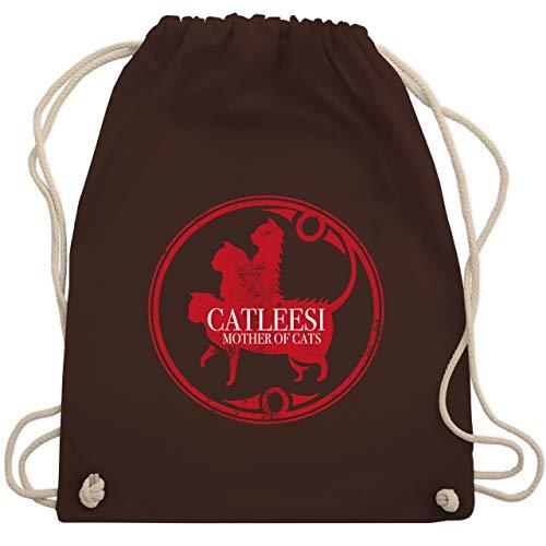 Shirtracer Nerds & Geeks - Catleesi Mother of Cats Logo - Unisize - Braun - Fun - WM110 - Turnbeutel und Stoffbeutel aus Baumwolle