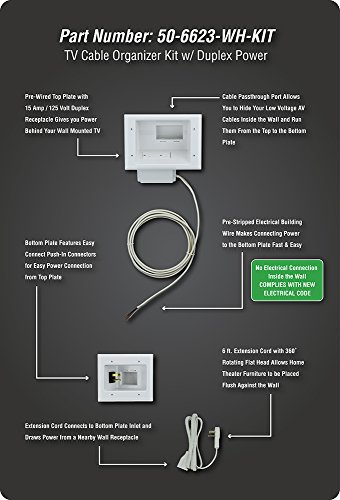 Datacomm Electronics 50-6623-WH-KIT Flat Panel TV Cable Organizer Kit with Power Solution
