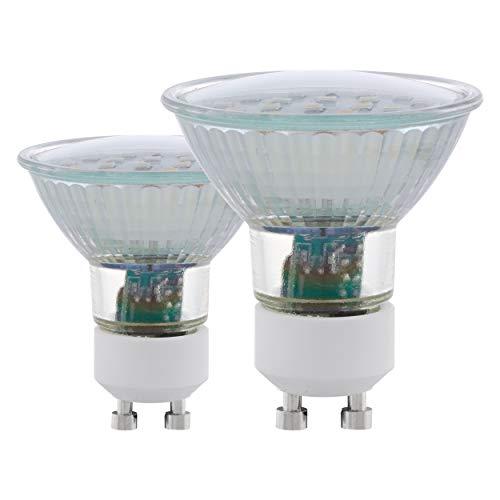 EGLO LED GU10 Lampe 2er-Set, 2 LED Spots, Spot LED Set, je 5 Watt (entspricht 35 Watt), 400 Lumen, GU10 LED warmweiß, 3000 Kelvin, LED Leuchtmittel, LED Spot GU10, Ø 5 cm