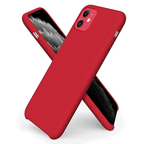 ORNARTO Custodia in Silicone Liquido per iPhone 11, Cover Sottile in Silicone Liquido in Gomma Gel Morbida per iPhone 11 (2019) 6,1 Pollici-Rosso