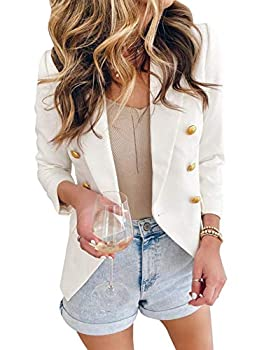 Asvivid Double Breasted Blazers for Work Casual White Blazer Office Tailored Blazers Notch Lapel Casual Jacket Stretchy Lady Suit S