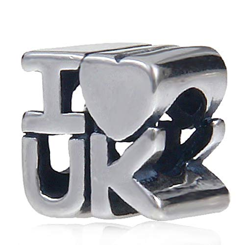 I love UK Charm Heart Charm 925 Sterling Silver Bead Fit Pandora & Other Bracelets (Antique Silver)