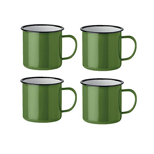 noTrash2003 Kaffeetasse Becher Mug Coffee Trinkbecher Emaille-Becher Vintage Look je 350 ml versch. Farben und Mengen (Grün, 4er Set)