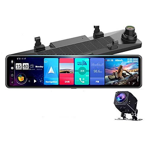 EKLEVA 12 Inch Mirror Dash Cam Dual Lens FHD 1080P 4G Android8.1 RAM2GB ROM32GB Stream Media Car Rearview Mirror Bluetooth Camera Car DVR ADAS Night Vision WiFi GPS Nav Dash Cam