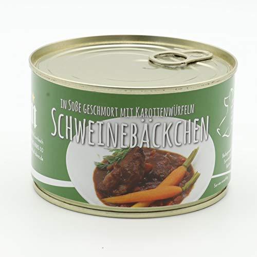 geschmorte Bäckchen vom Landschwein in Rotwein Soße mit feinen Karotten - Dose 400g - Diem - Konserve - Feinkost - Dauerware (1)
