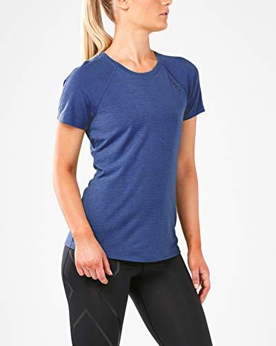2XU Heat Short-Sleeved Run T-shirt-WR5206a T-Shirt Femme, Sodalite Blue/Sodalite Blue, m