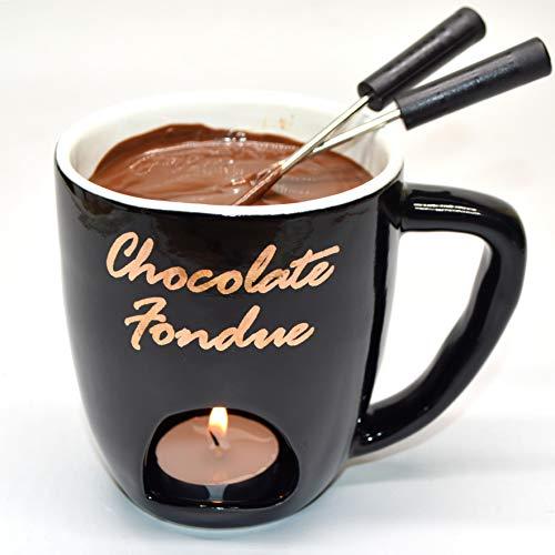 KDS Fondue-Becher aus Keramik, 4-teiliges Set, Schokoladen- und Käsefondue