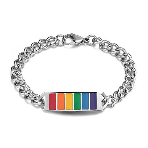 Bracelet chaîne arc-en-ciel Gay et lesbienne Lgbt en acier inoxydable, longueur 21cm