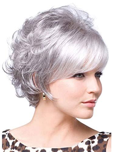 Perücke Damen Grau Silber Weiße Kurzhaar Perücken und Perückennetz Oma Großmutter Frauen Super Natürlich Volle Synthetik Wig 012