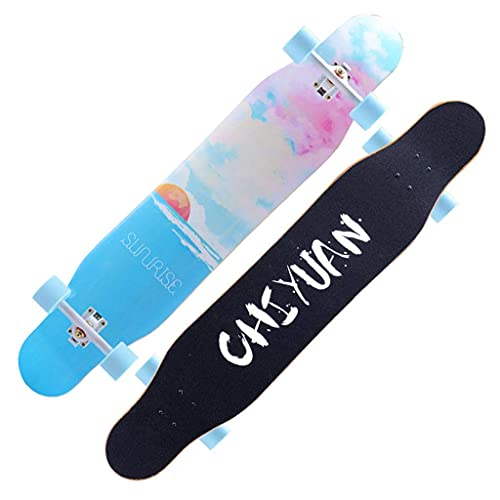 YIQIFEI Patineta Drop Through Freestyle Longboard Cruiser 46.5 Pulgadas Deck Complete Maple Cruiser, Regalo de cumpleaños para Adultos para niños y niñas, Al (Skateboard)
