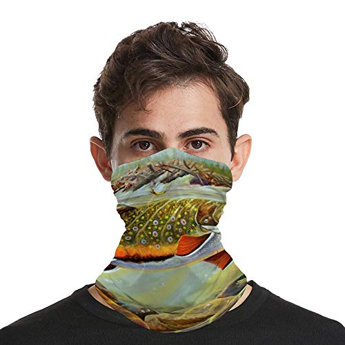 Brook Trout Fly Fishing American Seasonal Multifunctional Neck Gaiter Summer Face Mask Reusable UV Face Mask Bandana Sun Dust Protection Balaclava Face Cover Scarf for Men/Woman