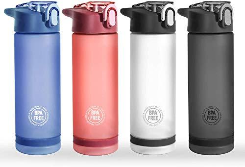 Husmeu Trinkflasche Wasserflaschen Sport Flaschen mit Strohhalm für Sport Yoga Radfahren Laufen 850ml / 750ml / 500ml BPA-frei Tritan Rosa 850ml