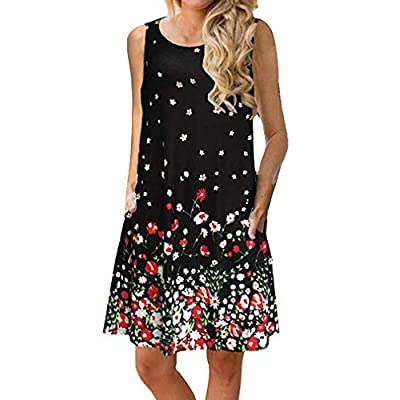 Women's Summer Floral Print Sleeveless Casual Loose Swing Dress