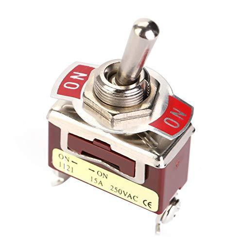 Zaraddia Interruptor de Palanca ON-ON, 5Pcs Interruptor de Palanca SPDT de 2 Posiciones ON-ON 12 mm 3 terminales de Tornillo 15A 250V