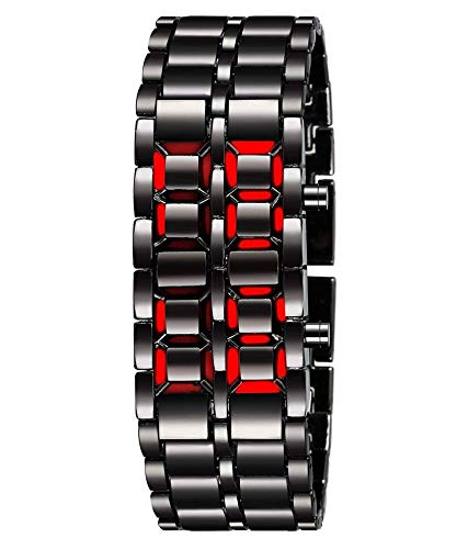 UNEQUETREND Fashion Black Full Metal Digital Lava Wrist Watch Iron Metal Red LED Samurai for Men Boy Sport Simple Wathes