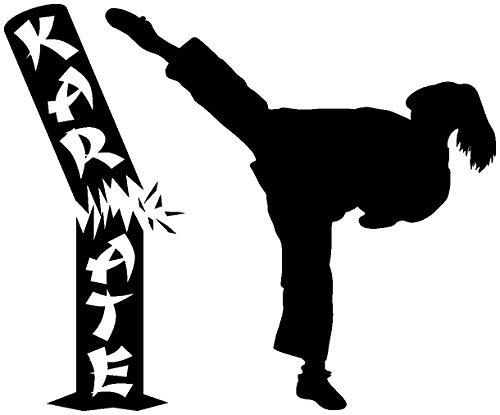 Samunshi® Wandtattoo Karate Karatekämpferin mit Stamm in 10 Größen und 19 Farben (110x90cm schwarz)