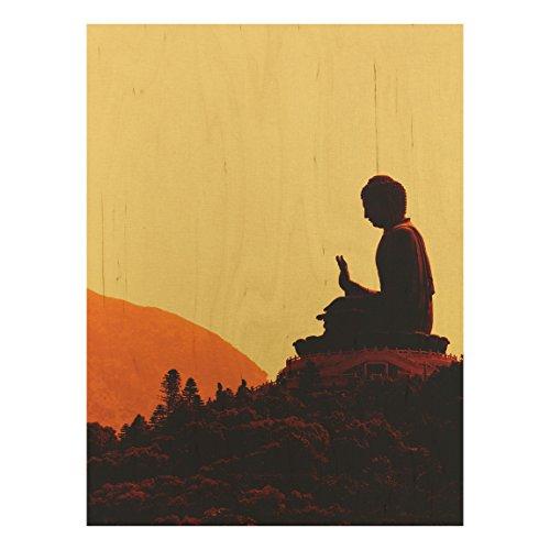 Holzbild Buddha - Resting Buddha - Wandbild Hoch 4:3, Größe HxB:40cm x 30cm