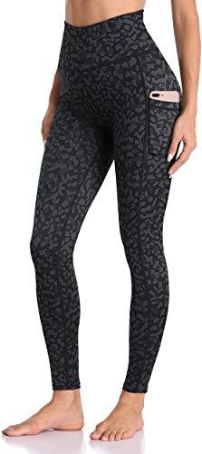 Enmain Pantaloni da yoga grigio scuro a vita alta da donna con leggings da corsa leopardati tascabili