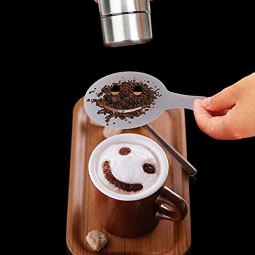 ZHONGJIUYUAN Acero inoxidable en polvo coctelera de malla en polvo latas con 1 paquete de cucharas medidoras de café y 16 moldes de impresión plantillas