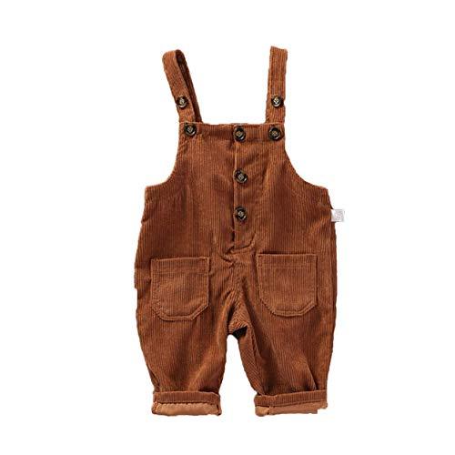Hertsen Baby Mädchen Junge Cord Strap Straps-Overall Latzhose Overall Einteiler Frühling Herbst Kleidung mit Tasche Gr. 110 cm, coffee