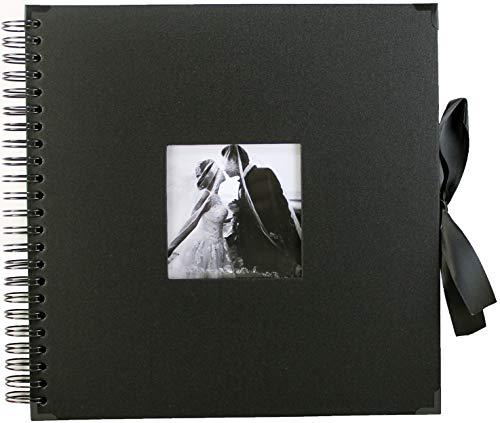 Álbum de fotos para álbumes de recortes, color negro, 25,4 x 25,4 cm, 80 páginas con funda para fotos y protectores de esquinas, cinta de seda, papel de manualidades para libro de invitados, boda, aniversario, regalo de Navidad, hazlo tú mismo