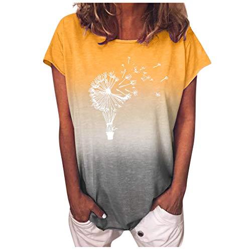 Xniral Damen T-Shirt Kurzarm O-Ansatz Farbverlauf Bluse Tops mit Gedruckt Lose Fit Sommer Bluse Verschiedene Muster Mehrere Größen(d-Gelb,S)