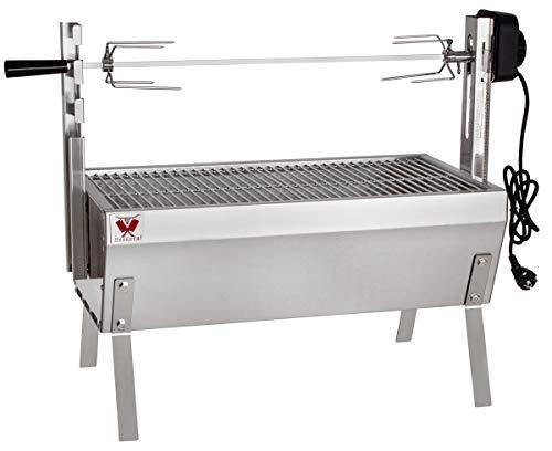 Beeketal 'SGB-8' Tisch Spießbratengrill mit Grillmotor für Hähnchen oder Rollbraten, Spießgrill mit 3-fach verstellbarem Drehspieß für bis zu 4 kg Grillgut, Grillfläche Holzkohlegrill: ca. 60x32 cm