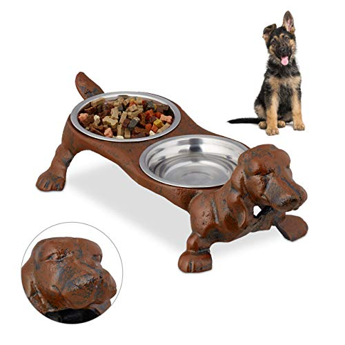 Relaxdays Napf Set Dackel, Gusseisen Figur, Hunde Doppelnapfständer, 200 ml Edelstahlnäpfe, HBT 14 x 43 x 20,5 cm, braun, 1 Stück