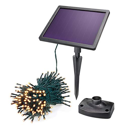 Solar Premium Lichterkette 20m für Sommer und Winter - 200 warmweiße LEDs, Lichtfarbe 3000K, 7 Betriebsmodi - extragroßes 2 Watt Qualitäts-Solarmodul - Party Weihnachten Solarleuchte esotec 102570