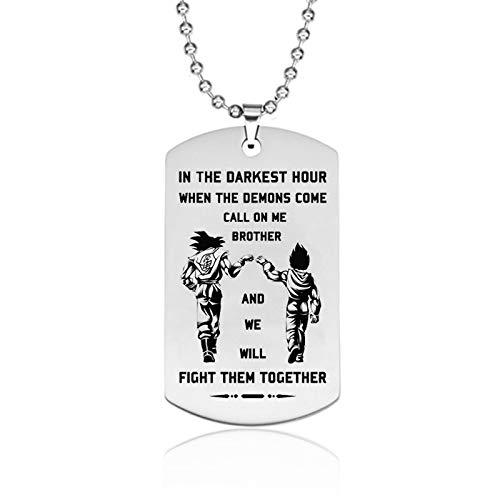 VAWAA Dragon Ball Colgante Collar Luchar Juntos Collar De Acero Inoxidable Regalos para Amigos Hermano
