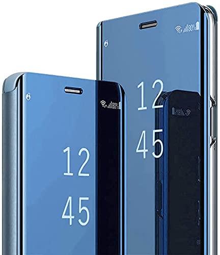 Hülle für Samsung Galaxy S20 FE 5G/S20 Lite Spiegel Handyhülle, Samsung Galaxy S20 FE Flip Schutzhülle Clear View Ledertasche Handy Mirror Standfunktion Tasche 360 Grad Stoßfest Hülle Cover, Blau