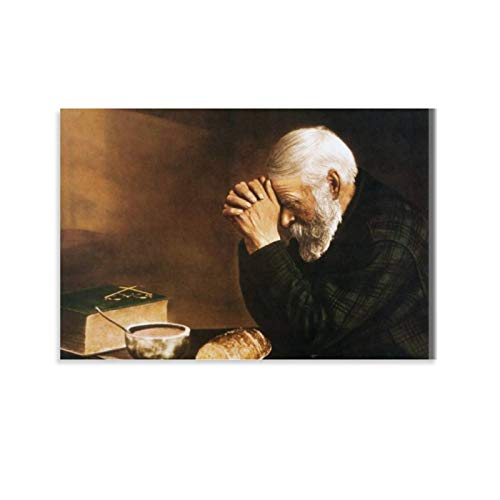 SGGB Old Man Praying Bread Canvas Art Poster and Wall Art Picture Print Modern Family Bedroom Decor Posters 20x30inch(50x75cm)