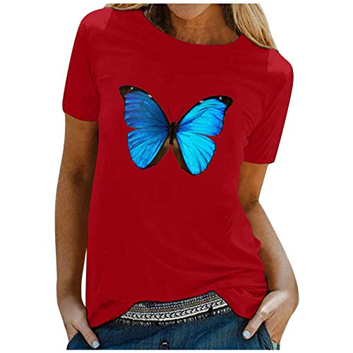 Lalaluka Camiseta de manga corta para mujer, diseño de mariposas, cuello redondo, estampado de manga corta rojo XXL