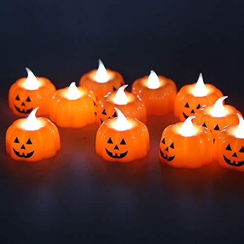12pcs Candele Tealights alla Zucca Luci da tè senza fiamma Candele a LED a Batteria Lanterne Arancioni per Decorazioni di Halloween, Ringraziamento, Decorazioni Natalizie, Sfarfallio Bianco Caldo