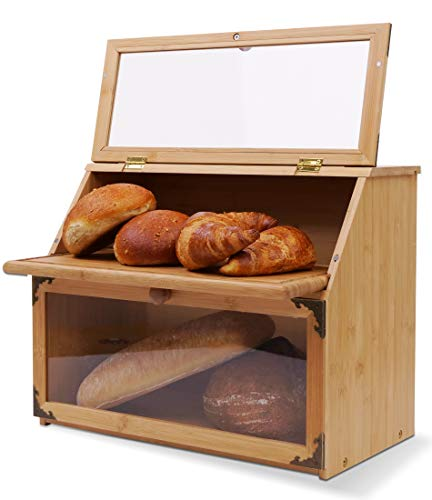 Double Layer Bamboo Bread Box for Kitchen Countertop Extra Large with Cutting Board. Bread Storage Container with Clear Windows. Holds Several Loaves of Homemade Bread, Bagels, Buns (Self-Assembly)