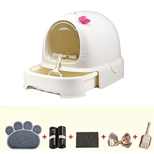 YYhkeby Scatola di lettiera di Gatto Chiusa Cat Full Cat WC Facile da Pulire Spruzzi di Grande capacità e Deodorante Jialele (Color : White)
