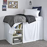Nautica | Dorm Collection | 100% Cotton Extra Long 42-Inch Drop Bedskirt Dust Ruffle, Perfect For College Loft Beds, Easy Care Machine Washable, Twin XL, White