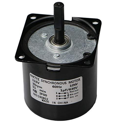 60KTYZ Synchronous Gear Motor 30RPM Dual Bearing AC Motor CW/CCW Control 115V 60Hz 10W
