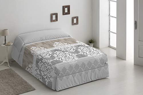 DHestia - Edredón Conforter Nórdico Invierno Gramaje 500 gr. 50% Algodón 50% Poliéster (250x270 cm/Cama 150, Gris)