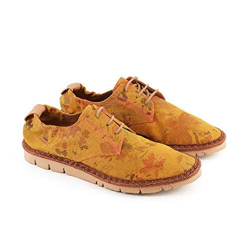 WATSON&PARKER · Dapper Flowers - Zapatillas con cordones para hombre, 100% piel auténtica, cosidas a mano, calidad premium, fabricadas en Italia Amarillo Size: 42 EU