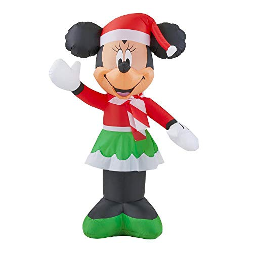 Gemmy 3.5Ft. Inflatable Christmas Minnie Mouse Dressed in Green and White Christmas Skirt with Candy Cane Scarf and Red Santa Cap Airblow Indoor/Outdoor Holiday Decorations