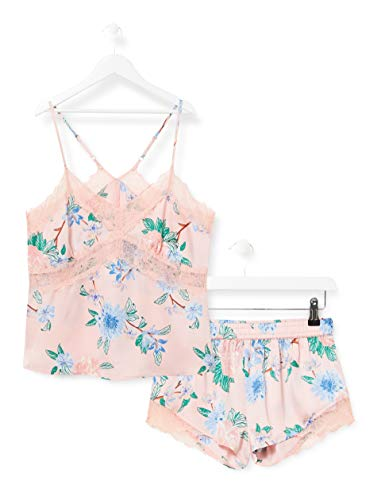 Iris & Lilly Damen Pyjama-Set aus Satin, Mehrfarbig (Pink Tropical), S, Label: S