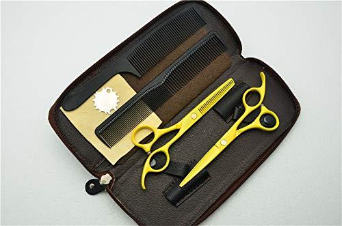 YING Tijeras de Peinado de peluquería Profesional Amarillo de 5.5 Pulgadas Premium y Juego de Tijeras para Adelgazar el Cabello