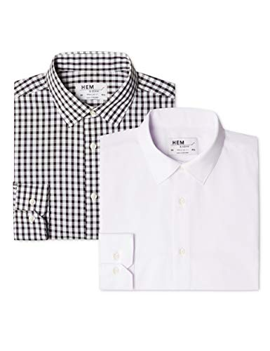 Marchio Amazon - find. Camicia a Quadri Regular Fit Uomo, Pacco da 2, Mehrfarbig (Block Check Black / White), 37 cm, Label: XS