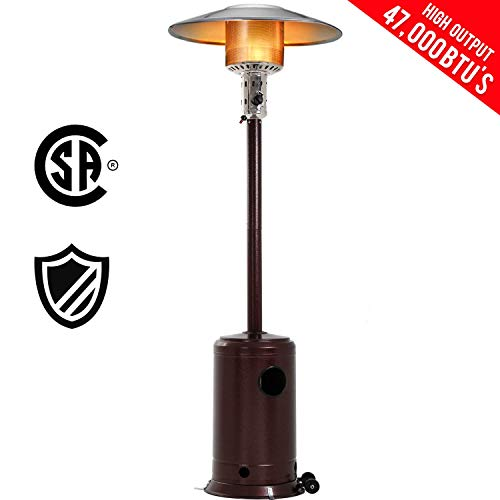 FDW Patio Tall Hammered Finish Garden Outdoor Heater Propane Standing LP Gas Steel w/Accessories, Bronze