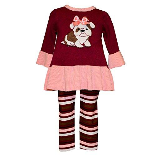 Bonnie Baby Girl Frenchie Bull Dog Sweater Set (12m-24m) (18 months)