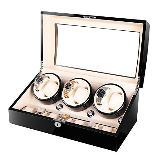 YZSHOUSE Caja de reloj automática de lujo, 5 modos de rotación, caja de madera 6+7 relojes eléctricos caja de almacenamiento (color : D)